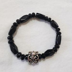 🎁 Black Glossy Gem Silver Design Elastic Bracelet